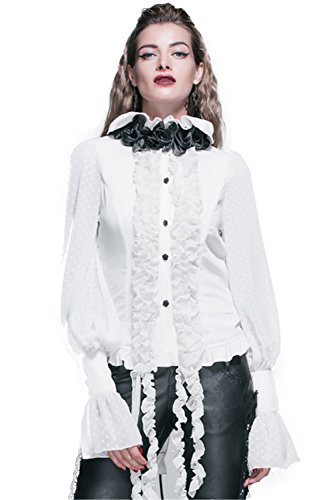 Devil Fashion Gothic Damen Bluse Langarm Elegant Weiß Steampunk Bluse Mit Schleife Damen Chiffon Quaste Shirt T-Shirt Top