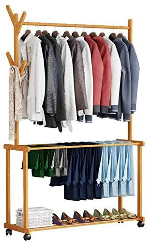 YLCJ boom voor slaapkamer 4 haken op rail instapbroek van hout schoenenkast schoen kleding organizer (afmetingen: 60 x 37 x 175 cm)