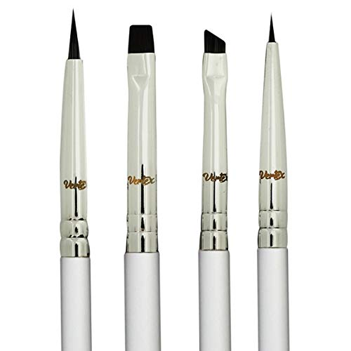 Eyeliner Brush Fine Angled Winged - Firm Flat Liquid Gel Liner Brush Small Angle Wing Brushes Set Pencil Point Thin Bristle Detailed Precision Perfect Controlled Filling With Stamp Stencil Eye Makeup