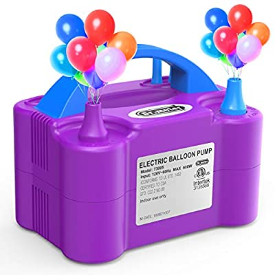 Dr. Meter Electric Balloon Air Pump, 110V 600W Portable Balloon Blower/Inflator with Dual Nozzle for Decoration/Party/Wedding/Birthday/Celebration/Ceremony/Christmas, Purple
