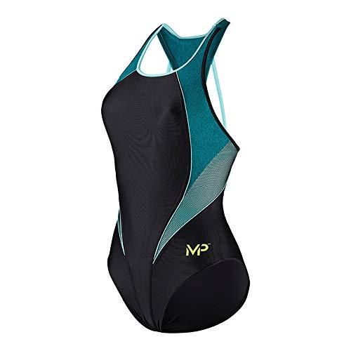 Aqua Sphere Michael Phelps Damen Schwimm-Freizeit-Badeanzug Hanoi schwarz grün, Größe:46