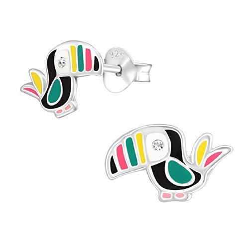 Laimons meisjes kinderen oorstekers oorbellen kindersieraden vogel tukon glanzend 12 mm groen, roze, roze glitter sterling zilver 925
