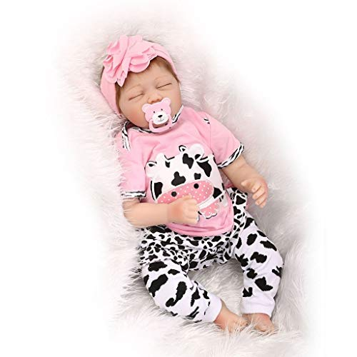 Nicery Reborn Baby Doll Soft Simulation Silicone Vinyl 22 Inch 55 Centimeter Lifelike Boy Girl Toy Pink White Dairy Cow...