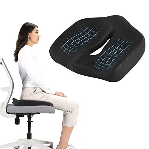 opamoo Cojín para asiento, cojín ortopédico para puestos de oficina, sillas, sofás, alivia el dolor de ciática, el dolor de espalda, corrige la postura, mejora la postura, antideslizante y lavable.