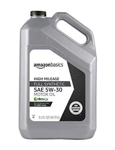 AmazonBasics High Mileage Motor Oil - Full Synthetic - 5W-30 - 5 Quart