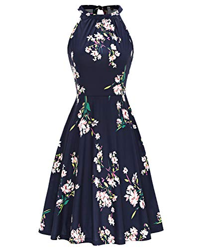 Product Image of the OUGES Women's Halter Neck Floral Summer Casual Sundress(Floral-37,XL)