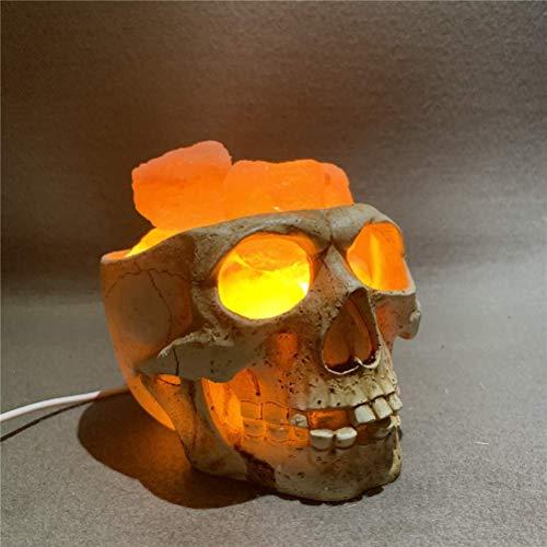 ZJHCC Lámpara de Sal de Cristal Natural del Himalaya con Forma de Calavera, luz Nocturna LED con Forma de Cabeza Fantasma de Terror de Resina con Fuente de alimentación USB de atenuación Continua