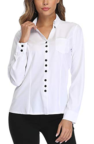 MISS MOLY Bluse Hemd Damen Lanngarmshirt Hemdbluse Langarm Hemdbluse Business Shirt Blusen Weiß XX-Large