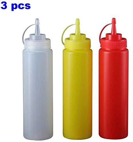 Botellas exprimibles de condimento premium para salsas, pintura, aceite, condimentos, aderezos para ensaladas, artes y manualidades: sin BPA, reutilizables de grado
