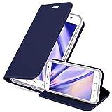 Cadorabo Funda Libro para Samsung Galaxy J5 2015 en Classy Azul Oscuro - Cubierta Proteccíon con Cierre Magnético, Tarjetero y Función de Suporte - Etui Case Cover Carcasa