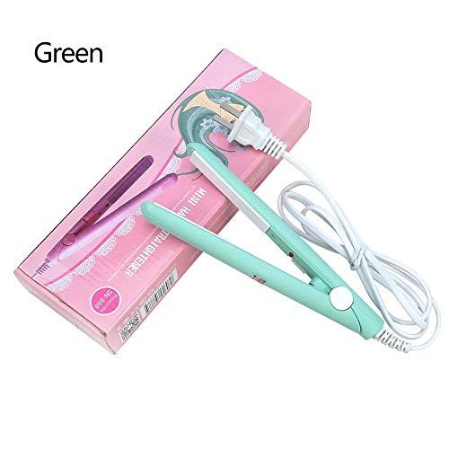 Mini plancha para el pelo, 4 colores, 2 en 1, mini plancha para el pelo, placa de turmalina de cerámica, plancha para el pelo de hierro plano de belleza Matcha Green us