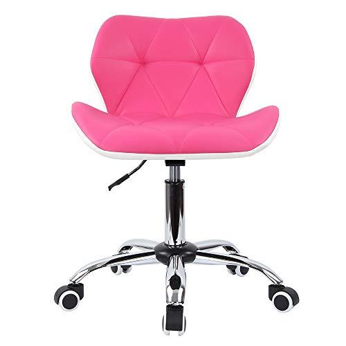Mutiwill Chaise de Bureau Pivotante - Siege de Bureau pour Ordinateur à roulettes - Hauteur Réglable avec Dossier Cuir Synthétique - Rose Rouge