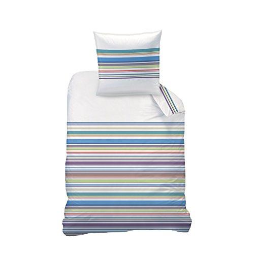 Matt & Rose Parure de lit, Coton, Blanc avec Rayures Multicolores, 135 x 200 cm, de 2 unités