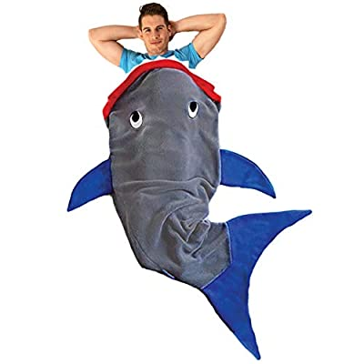 Blankie Tails Shark Blanket for Adults Super Soft, Double-Sided Shark Tail Blanket - Climb Inside to Keep Legs and Feet Warm and Cozy - Perfect Cool Guy Gift for All Seasons