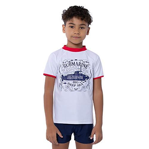 TIZAX Maglietta Nuoto UV a Maniche Corte da Bambino Costume da Bagno per Ragazzi Rashguard per Surf Nuoto Immersione Spiaggia UPF 50+ Bianco 110