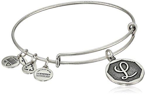 Alex and Ani Rafaelian Silver-Tone Initial 'L' Expandable Wire Bangle Bracelet, 2.5'