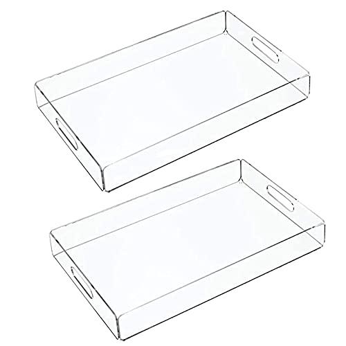Acryl-rechteckiger Tablett-Arbeitsplatte Lebensmittel-Tee-Kaffee-Frühstück Käse-Tischplatte (2 Stück) (Color : Transparent)
