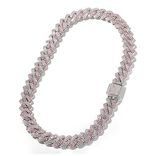 AMOZ Gargantilla de cadena de eslabones cubanos de Miami, 13 mm, hip hop, chapado en oro rosa blanco de 18 quilates con circonita cúbica AAA + collar de 18 pulgadas para hombres y mujeres