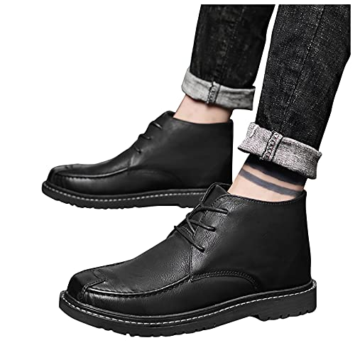 seanxw Men Ankle Booties Fashion Leather Flat Round-Toe Short Boots Low-Heeled Non-Slip Lace-Up Casual Shoe Plus Velvet Winter Boots