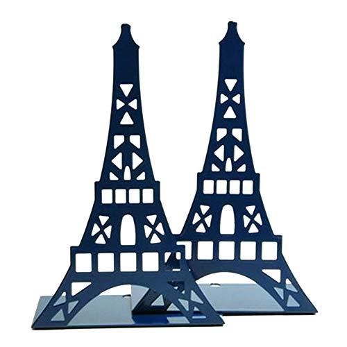 GCDN Sujetalibros 1 par Decoraciones Papelería Grande Estantería de Regalo Soporte Organizador de Metal Torre Eiffel Soporte de Escritorio Moda Oficina en el hogar(Azul)
