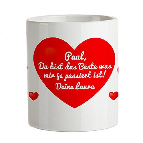 Tassenwerk – Magische Tasse – Kaffeetasse mit Thermoeffekt – Motiv: Herz – Mit geheimer Liebesbotschaft – Personalisiert mit Wunschtext – Geschenkidee Frauen