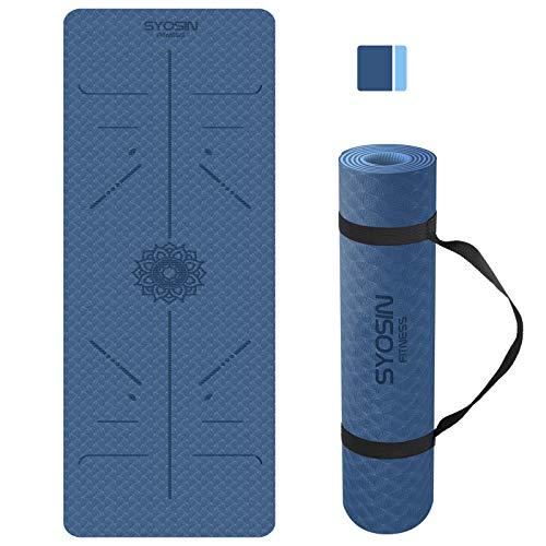 SYOSIN Yogamatte, TPE Gymnastikmatte rutschfest Fitnessmatte für Workout Umweltfreundlich Übungsmatte Sportmatte für Yoga, Pilates Heimtraining, 183 x 61 x 0.6CM (NAVYBLUE)