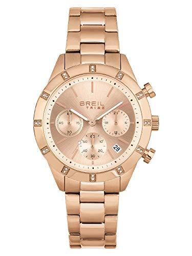 Breil - Reloj de mujer Dazzle, esfera mono-color rosa, movimiento de cuarzo y pulsera de acero multicolor EW0521