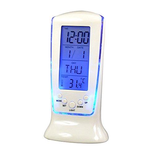 Szaerfa Despertador electrónico Digital, Despertador, termómetro de habitación, Calendario con retroiluminación LED