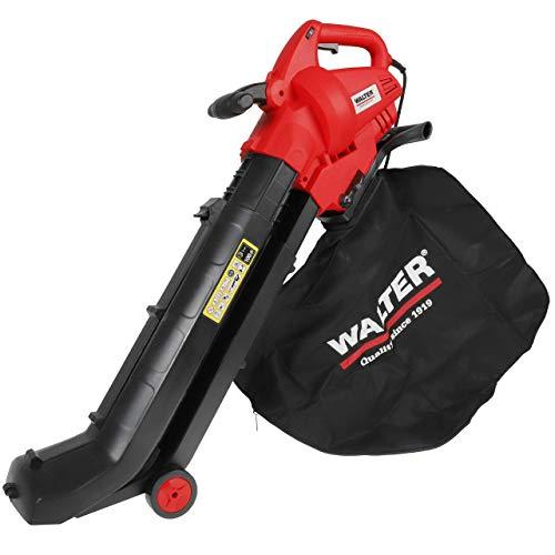 WALTER Elektro Laubsauger und Bläser 3000 W, 45 l Fangsack und Häcksler, hohe Blasgeschwindigkeit, einstellbare Saugleistung, Tragegurt