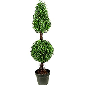 Admired by Nature 3' Artificial Boxwood Leave Double Ball Shaped Topiary Plant Tree in Plastic Pot, Green/Two-tone