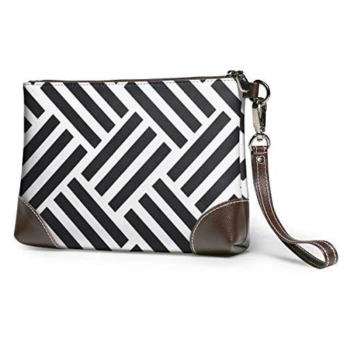 Leder Brieftasche Parkett Schwarz Damen Leder Wristlet Clutch Bag Große quadratische Wristlet Geldbörse Brieftasche mit Riemen Stilvoll und langlebig