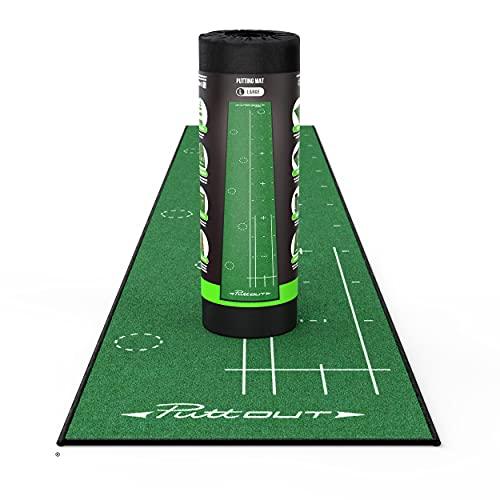 PuttOut Large Große Golf-Puttingmatte, grün, 367cm x 67cm