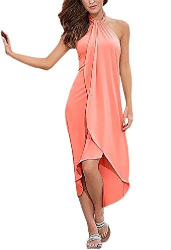 Adelina elegante zomerjurk voor dames, lange strandjurk, mouwloos, halter, effen feestelijk, effen kleuren, onregelmatige asymmetrisch, kruisriem, lange jurken, strandmode, zwemwear bikini