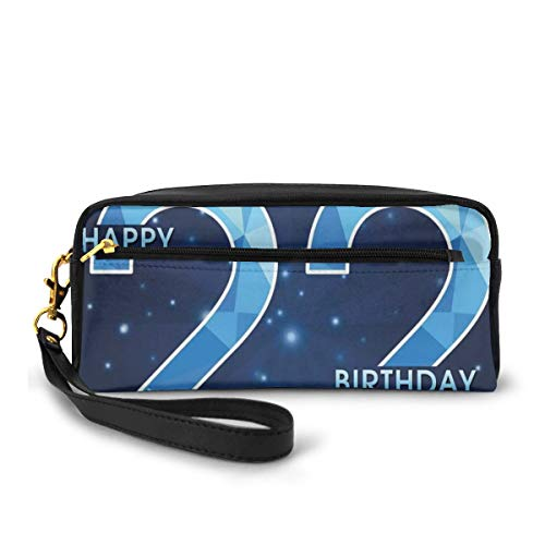 Pencil Case Pen Bag Pouch Stationary,Happy Age Anniversary Digital Polygon Star Illustration,Small Makeup Bag Coin Purse
