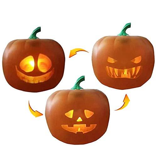 ALLBEST Halloween Kürbis Flash, animierter LED Kürbis, sprechender singender Kürbis mit eingebautem Projektor & Lautsprecher, USB Kürbis Projektionslampe für Home Party Dekoration