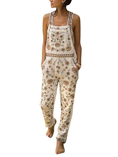 Onsoyours Damen Latzhose Retro Lange Overall Größe Jumpsuit Baggy Sommerhose Blumen Playsuit Romper Mit Tasche Weiß M
