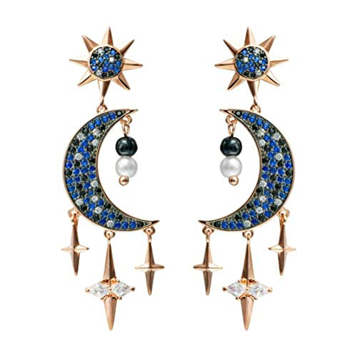 LOt Perla Estrellas Luna Aguja de Plata Pendiente en Forma de Gota Elemento Misterioso Estrella Azul Estrellas Luna Brillante Oreja Aretes BorlaF