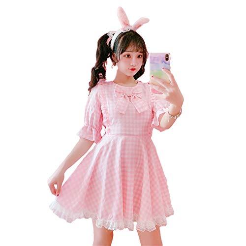 Yunbai 2020 Sommer Lolita weiches mädchen niedlich Kawaii Kleid süße Spitze Kurzarm Karierte Vintage Kleider Frauen Prinzessin rüschen rosa Kleider (Color : Pink Dress, Size : Small)