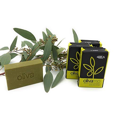 ABEA® | 4er-Set grüne Olivenöl-Seife | 4x 125g (500g) | reine, vegane Naturseife | Spar-Pack 3+1 Stück | geeignet als festes Dusch-öl, Haarseife, Handseife und Dusch-seife ohne Palmöl