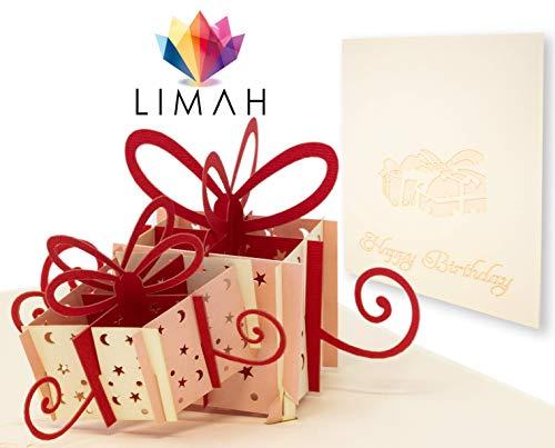 LIMAH® Pop Up Geburtstagskarte in 3D Glückwunschkarte mit
