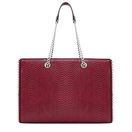 CRAZYCHIC – Sac à Main Porté Epaule Chaînes – Shopper Clous Billes Perles Métal Argenté Femme – Cabas Fourre-Tout…