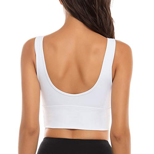FORLAND Crop Top Sports Bras for Women - Womens Longline Sports Bra High Support Workout Yoga Bra Tops,White,Small
