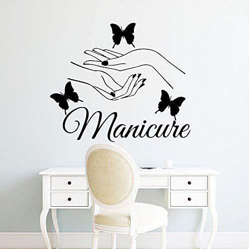 JXFM DIY Nail Salon Etiqueta de la Pared calcomanía Esmalte de uñas Vinilo calcomanía manicura Cartel Tienda decoración de Ventana 50x59 cm