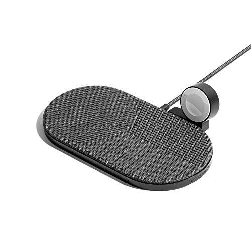 Native Union Cargador Inalámbrico Drop XL (Edición Reloj) – Base de Carga multidispositivo para iPhone y Dispositivos compatibles con Qi, Que Incluye Disco de Carga para Apple Watch desconectable