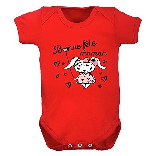 bodybebepersonnalise.fr Body Fille, Bodies Enfant, Manches Courtes, Cadeau, fête des mères, Bonne fête Maman, mère, Surprise, brassière - Rouge, 0-3 Mois