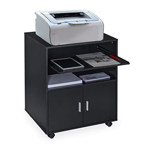 Relaxdays Rollcontainer Büro, mit 2 Fächern & Tastaturauszug, Druckertisch mit Rollen, HxBxT: 74 x 60 x 48 cm, schwarz