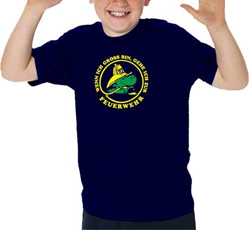 T-shirt Navy pour enfant avec inscription « Wenn ich Gross Bin, gehe ich zur Feuerwehr (jaune fluo/vert fluo) 104 cm bleu marine