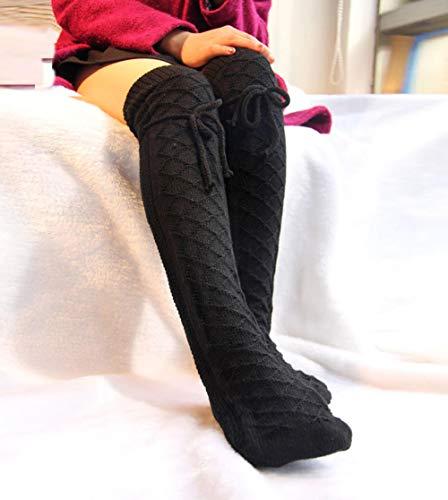 FFAA Calcetines De Pierna De Mujer, Medias, Rodilleras, Tejido, Calor, Pila De Calcetines, Otoño E Invierno.-Negro_Un Tamaño