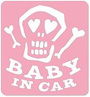imoninn BABY in car ステッカー 【マグネットタイプ】 No.31 ガイコツさん (ピンク色)