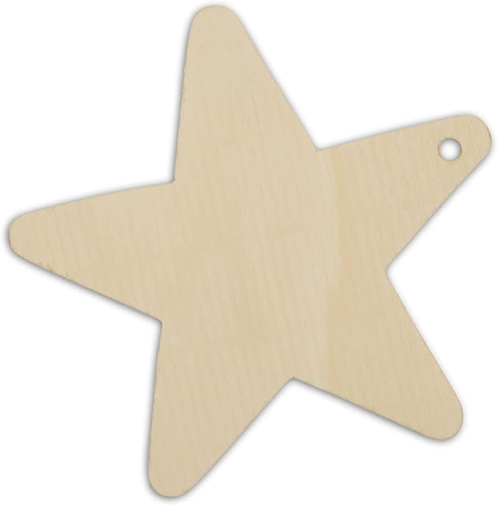 Woodpeckers Wooden Star Christmas Tree Direct store Popularity Ornaments Unfinished 4 I